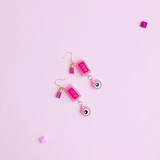 Cute pink eye building blocks  geometry earrings