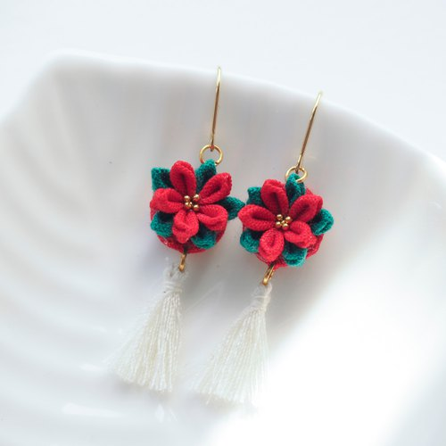 Classic Fabric Poinsettia and Tassel Drop Earrings Clip-on 14KGF, S925 custom
