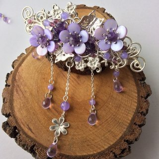 Meow ~ Chinese style hand-made shells plum hairpin (stained purple) / two kinds of background (silver / brass)