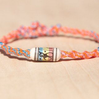 Valentine's Day gift colorful hand woven rope twist silk wax line - painted colored ceramic totem animal geometry South America (customized wire can pick the color)