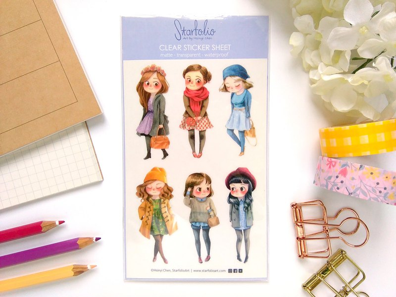 Winter Girls Clear Sticker Sheet - 6 Illustrated Planner Stickers