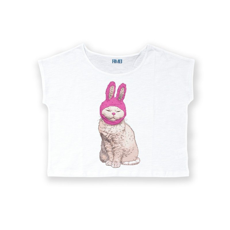 AMO®Original canned cotton T-shirt/AKE/Rabbit Cat