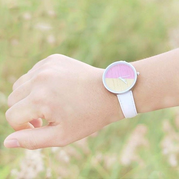 Two-color candy | Log handmade watch Pink & Yellow belt watch log table metal watch frame