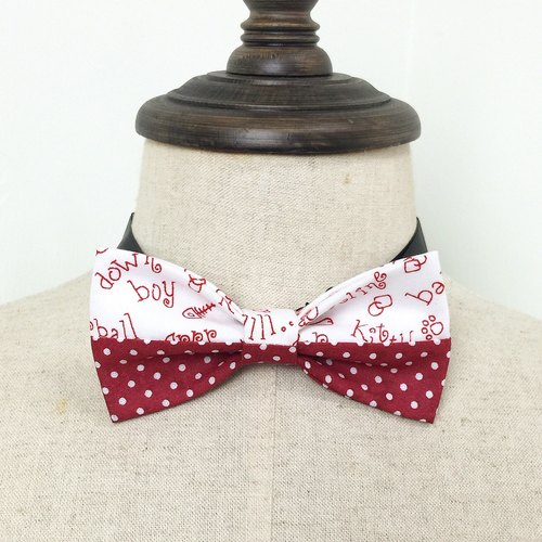 Japan and South Korea style tie tie bit printing fun graffiti red and white tie stitch cotton handmade children tweeted Bow Tie shooting performance