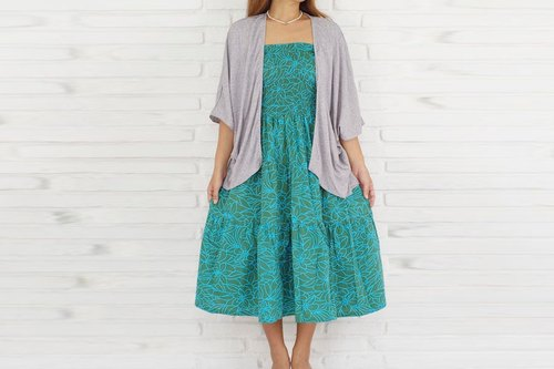Adult cute hibiscus print tiered dress <Green Blue>