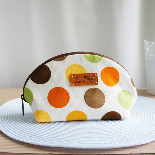 Lovely * little big colorful group travel cosmetic bag * orange coffee blending