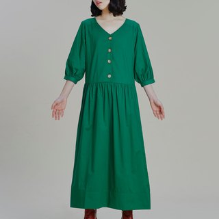 Shan Yong Green Five Pleated Sleeve Long Dress