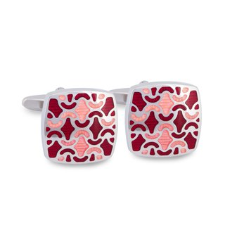 Red and Peach Enamel Floral designed Cufflinks