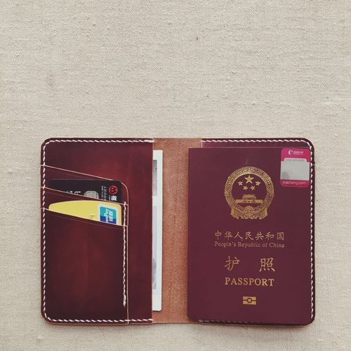 Passport holder / passport cover Italian vegetable tanning vertical card bit hand-brown brown leather design custom skin Knight PXK produced
