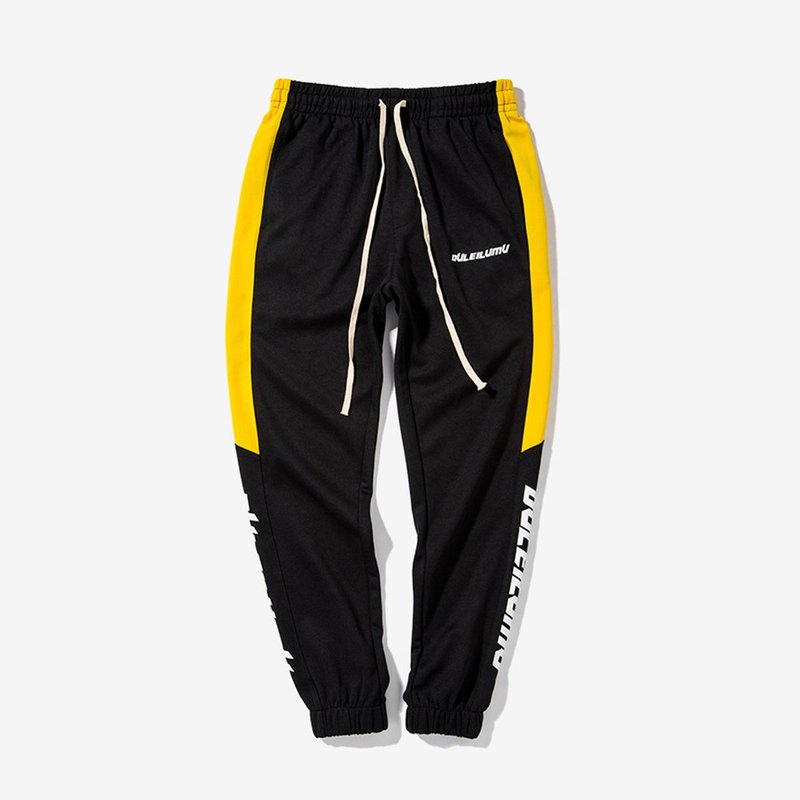 Colorblocking Sports Pants:: Black and Yellow::