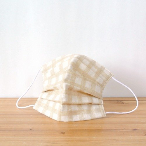 TEMARIYA | handmade mask Gingham Beige | Japanese double gauze cotton