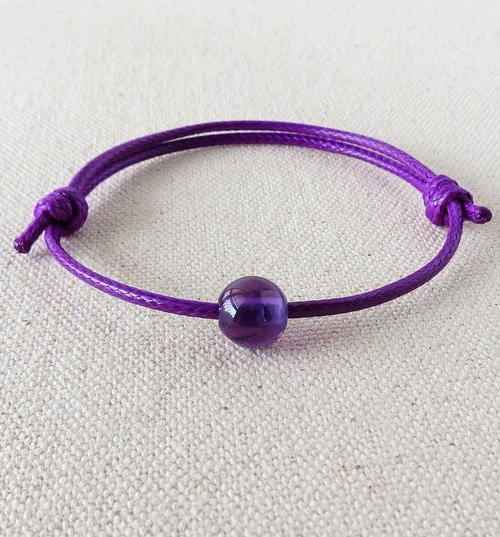 "[Opium poppy ﹞ ﹝ love ‧ chain]*fashion lucky Pledge ""amethyst"" wax cord bracelet Korea*~ elegant strokes"