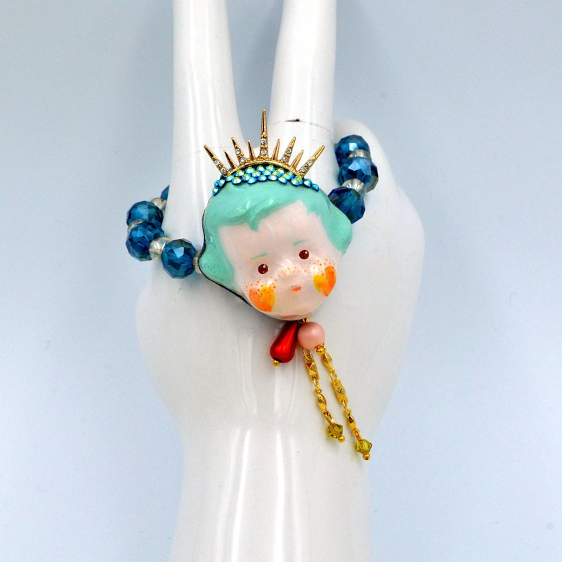 Green Hair Fairy Handmade Doll Gem Rubber Band Bracelet
