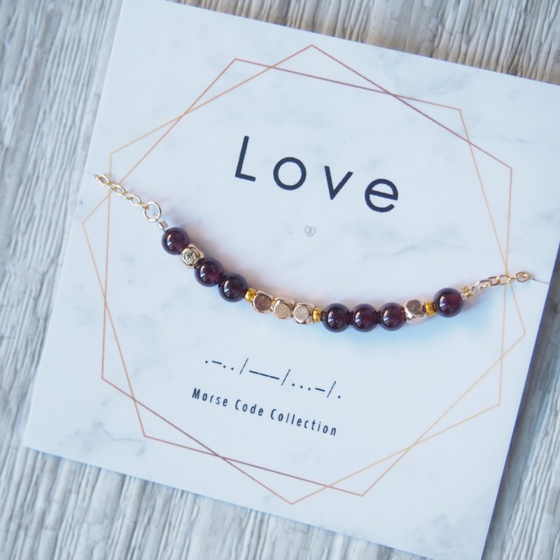 Love. Love. Purple tooth garnet. Morse Code Morse Code. Beaded gold-plated bracelet