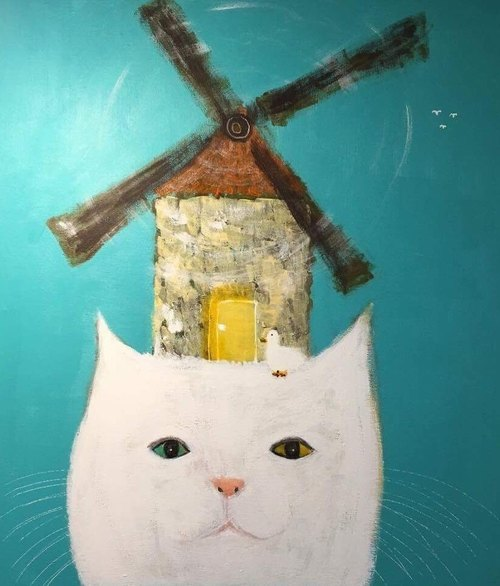 Duck and windmill cat original painting
