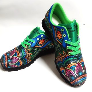 Hand-painted line drawing precision digital printing multi-function walking shoes (green)