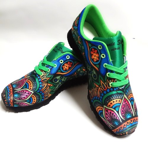Hand-painted line drawing precision digital jet printing multi-function walking shoes (green)