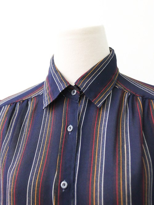 Japanese-made retro simple striped dark blue long-sleeved vintage shirt Vintage Blouse