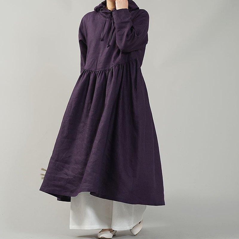 wafu-中型亞麻連帽連衣裙/梅紫色a018c-ppe2