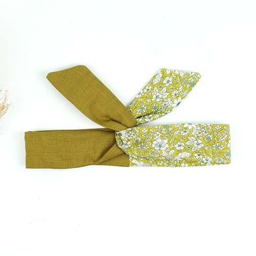 Calf Village Calf Village Handmade Hair Fabric Aluminum Hair Band Multi-Style Headband Flower Floral Flower {Mustard White Flower Field} Mustard Green Splicing [A-50]