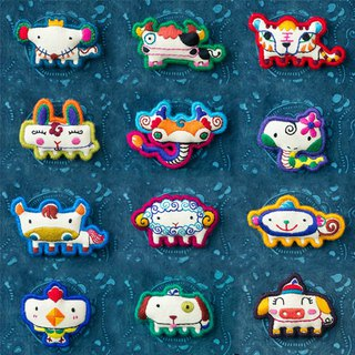 12 Zodiac|Embroidery Brooch Original Design Vintage Creative Cotton Accessories Fun Cute Art Clavicle Chain