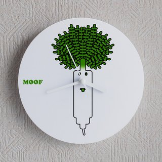 MOOF Wall Clock Vegetable Radish Clock Illustration Wall Clocks Watch Humorous Simple Design