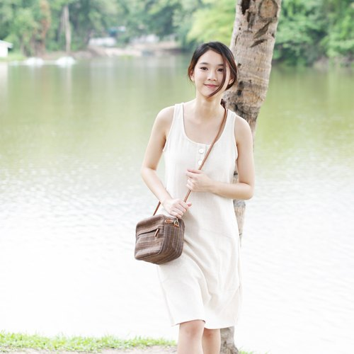 Little Tan Midi Bags Hand woven and Botanical Dyed Cotton Brown-Blue Color