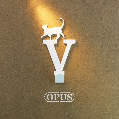 【OPUS Eastern Qi metalworking】 When the cat meets the letter V-hook (elegant white) / Mural hooks / furniture rack / living storage / hanger / modeling hook / trace / small wedding HO-ca10-V )