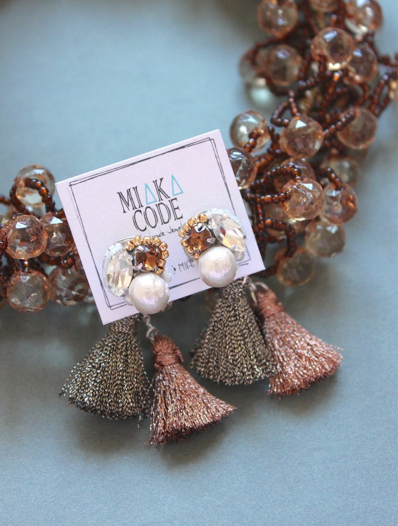 Hand-beaded cotton pearls + brown tassel Earrings /Ear-Clips