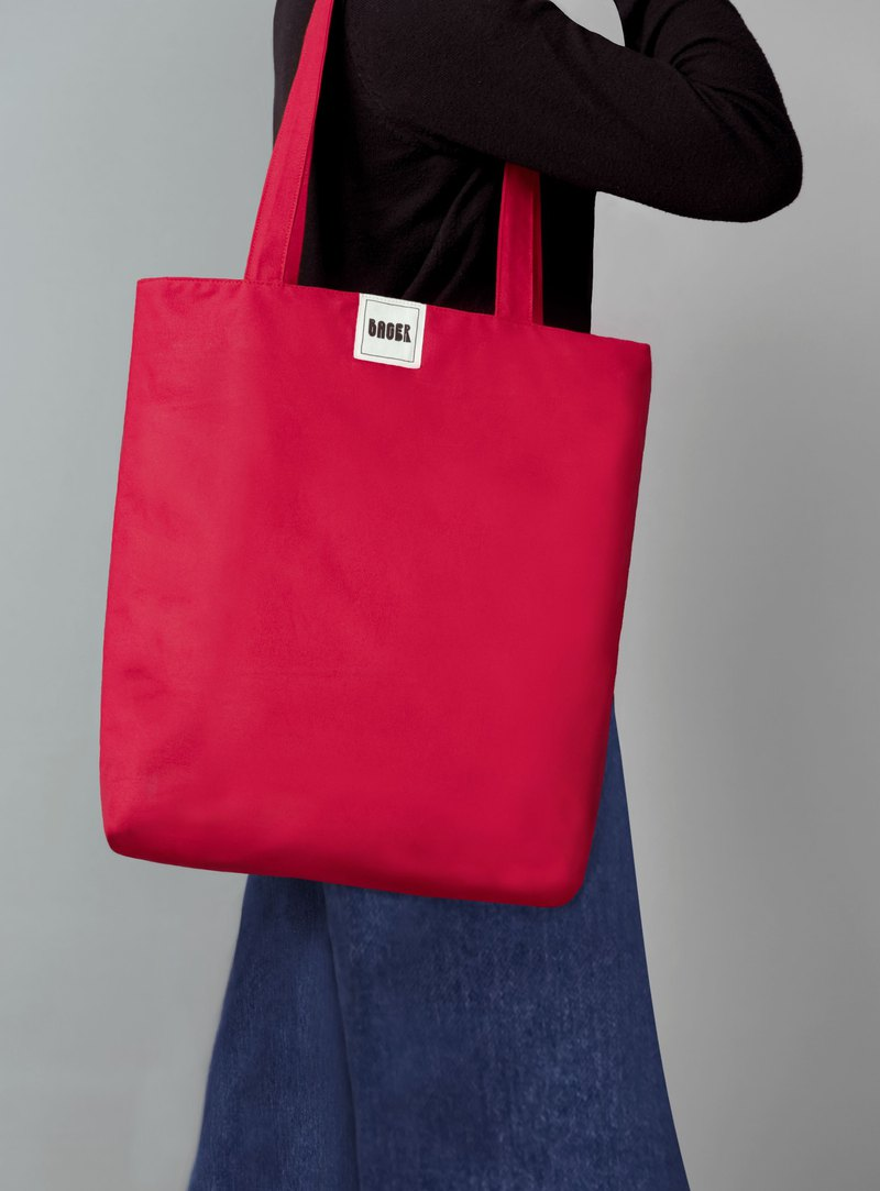 Non-printing minimalist plain shoulder canvas bag (large) / red