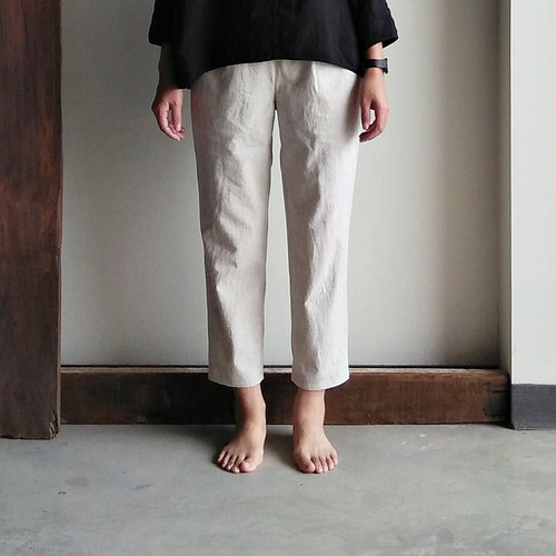 Cotton and linen oblique pocket pants pants cotton and linen