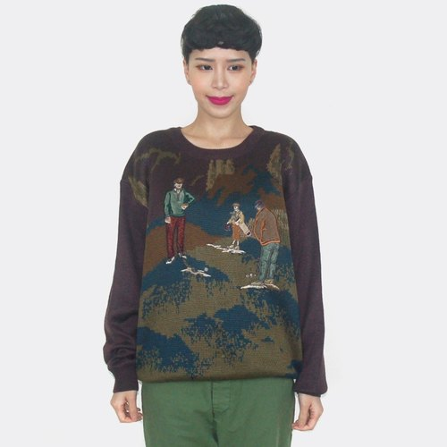(Special) Golf trio vintage embroidery wool sweater AV5013