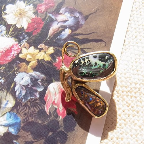 【one of a kind】Opal butterfly brooch (boulder opal, brass)