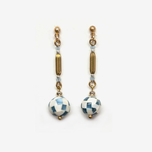 Mosaic Shell Ball Earrings - Blue, Post Earrings, Clip on Earrings