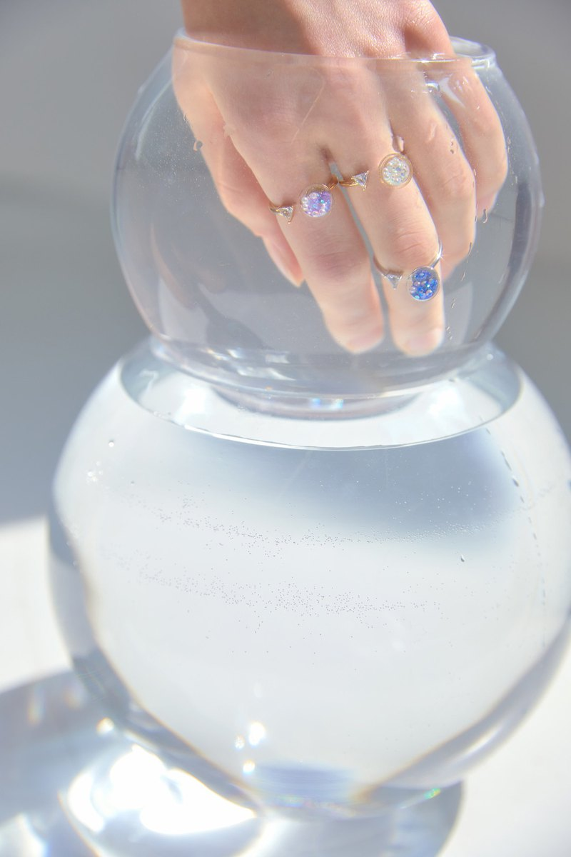 Triangle Cubic Snowball Ring