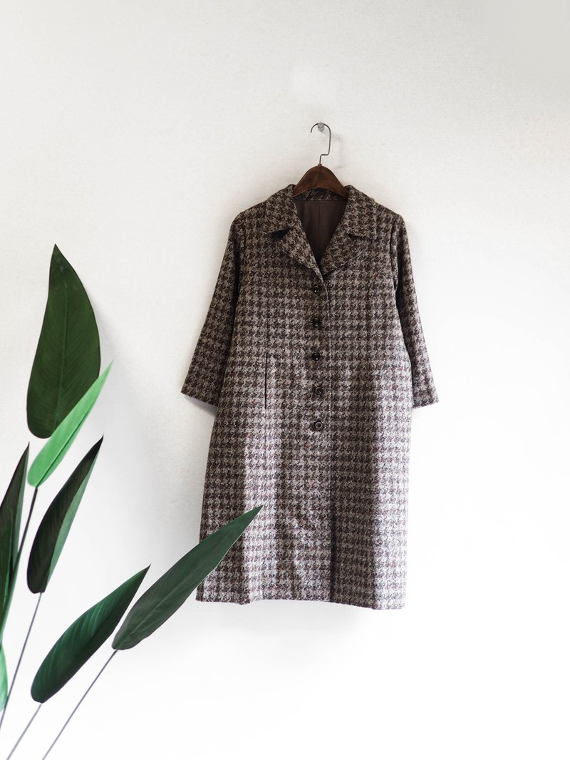 Cappuccino blended houndstooth pattern afternoon leisure time antique wool coat coat overcoat