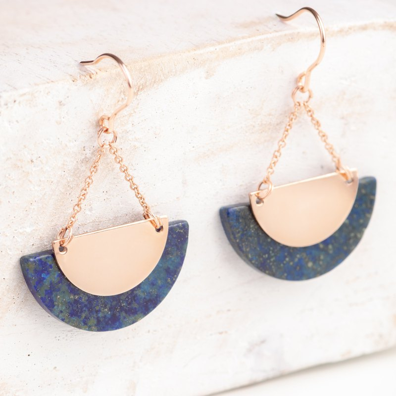 RUSSIA Earrings in natural Lapis Lazuli and 14k Rose gold filled, semi circle