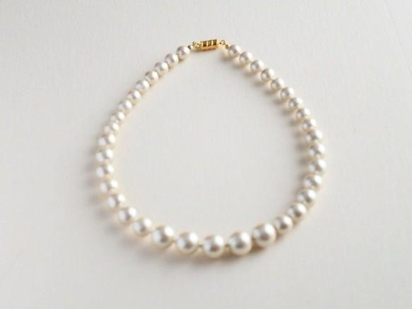 Gradation cotton pearl necklace (kisuka magnet)