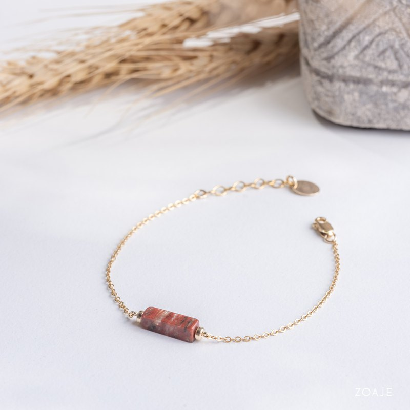 NAMIBIA bracelet with natural Red Jasper gemstone and 14k gold filled chain