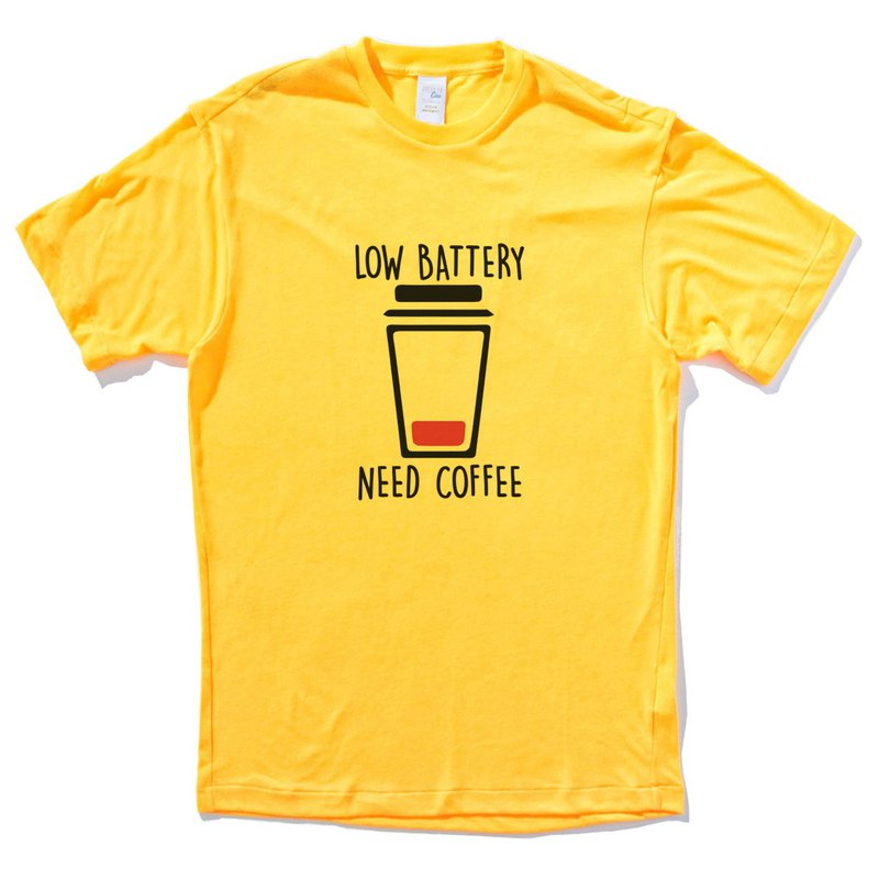 LOW BATTERY NEED COFFEE yellow t shirt