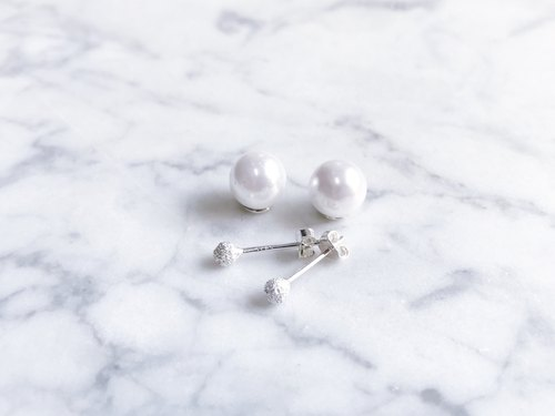 """Classic series"" small snowball snow silver pearl earrings a pair"