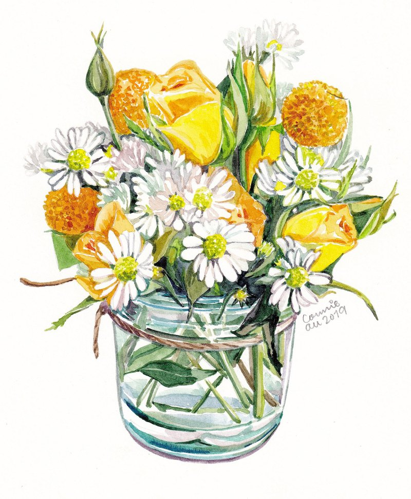 "Original Watercolour Painting (7.5"" x 5.5"") - Mini Bouquet"