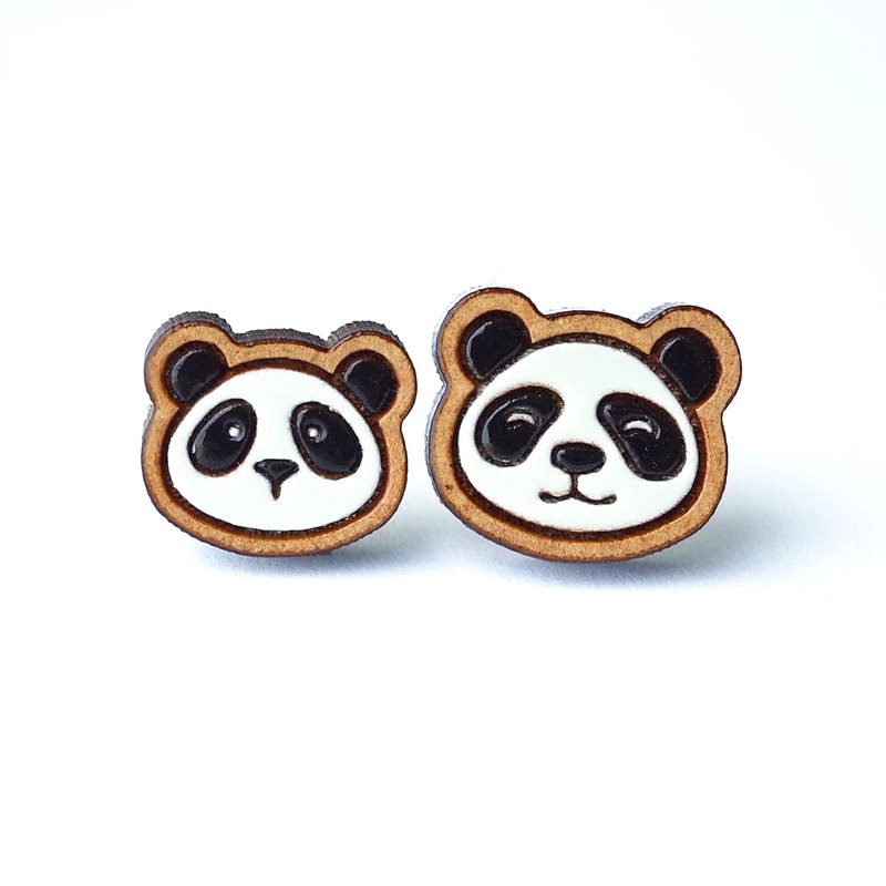 Painted wood earrings-panda(Dad&Kid)