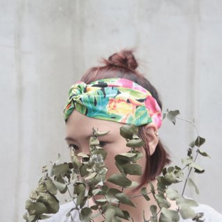 Hanolulu | American cotton | pink, orange green | hand cross hair band