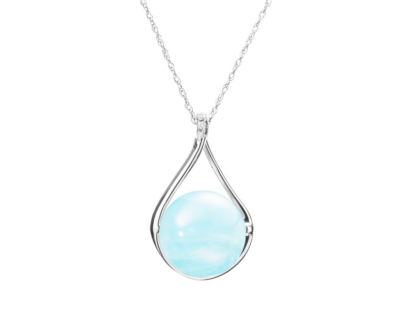 Aquamarine Necklace in 14k White Gold with Diamonds, March Birthstone Pendant