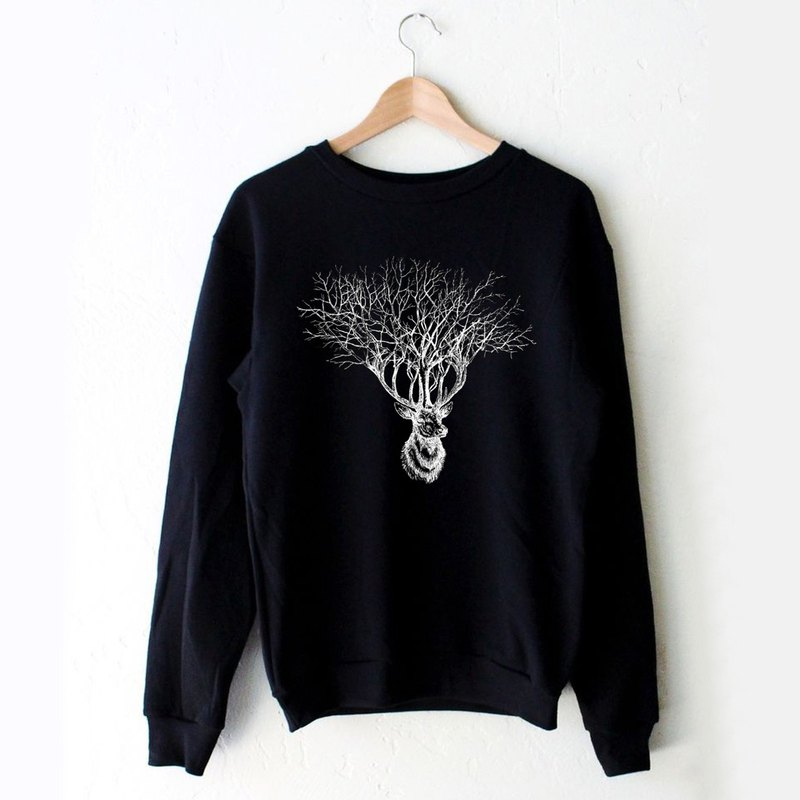 Deer  Tree unisex black sweatshirt
