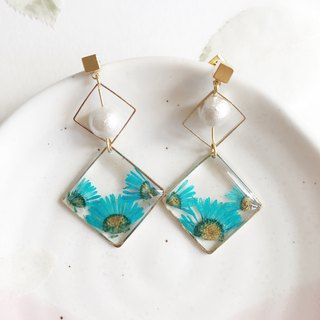 Real flower Blue chrysanthemum 18KGP earrings