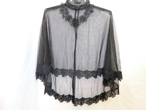 European and American minimalist style hand short in front long shawl collar fantasy (black B) -Lisa-Snail Design