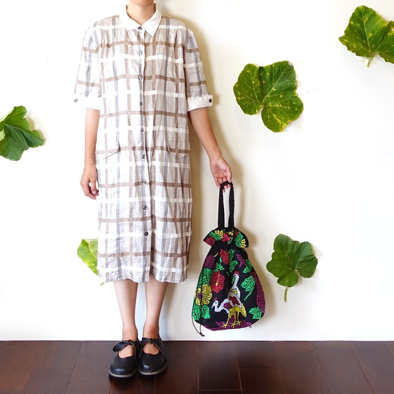 BajuTua / vintage / College wind Beige Plaid Dress Chunma