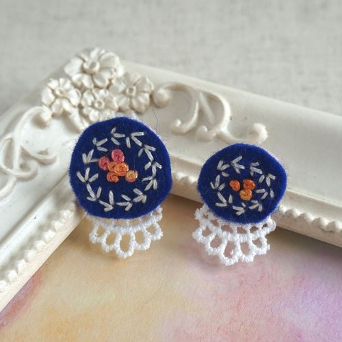 "Hand embroidery pierced earring""Navy circle big,small1"""